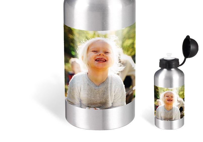 Aluflasche mit Foto drauf