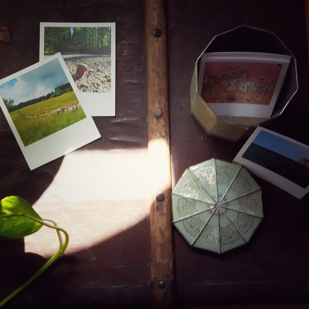 Ansicht von Bildern in einer alten Kaffeedose