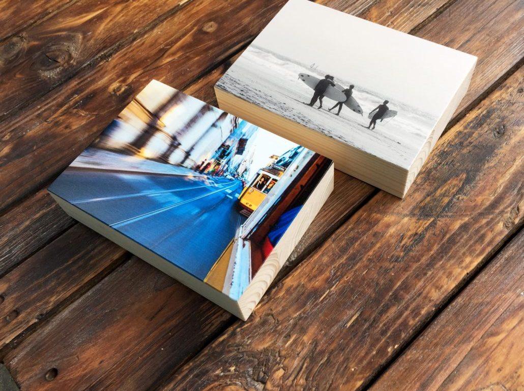 Holzfotos mit Surfmotiven