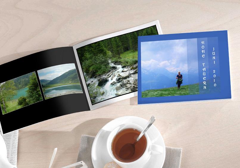 Beispiel Fotobuch Mini mit Landschaftsbildern und Teetasse