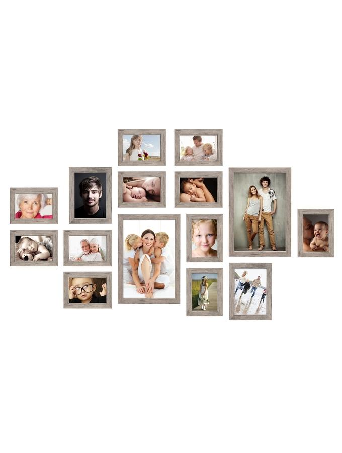 Galerie aus 15 Bildern mit grauem Rahmen