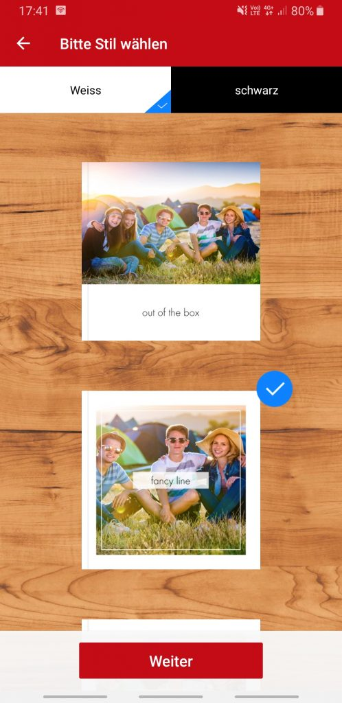 Auswahl Design Fotobuch weiss