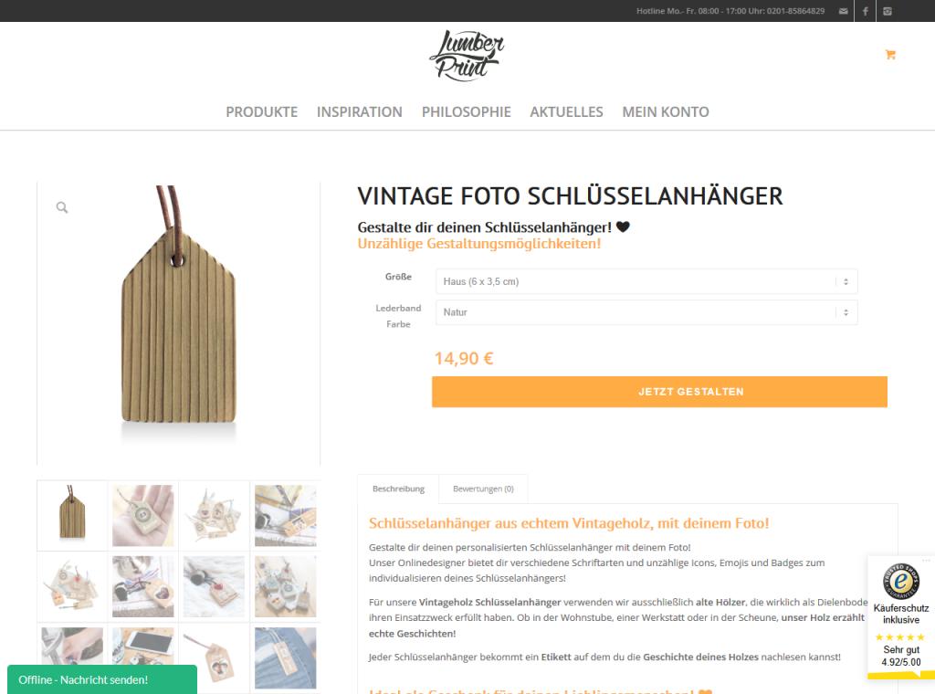 Lumberprint Produktseite Schlüsselanhänger