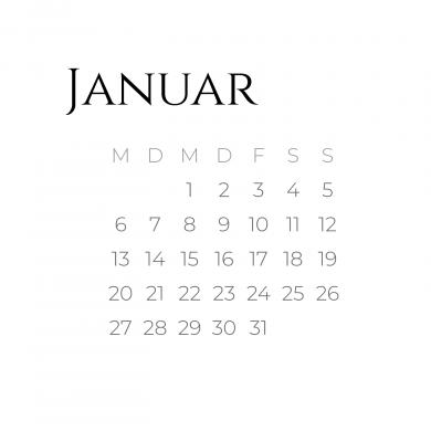 Kalenderblatt Januar 2020 Schriftart Cinzel