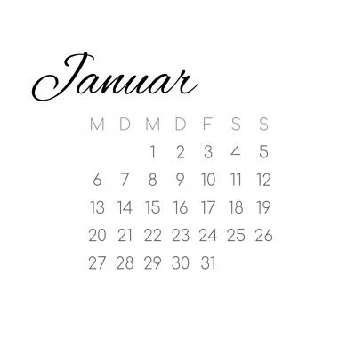 Kalender 2020 mit Schriftart Alex Brush