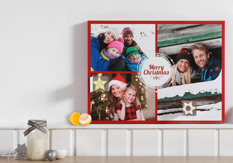 Adventskalender mit persönlichen Fotos auf der Front zum selbst befüllen
