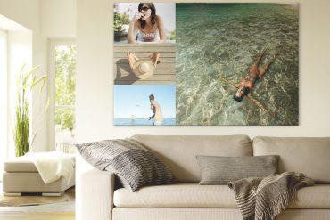 Fotocollage über einem Wohnzimmersofa