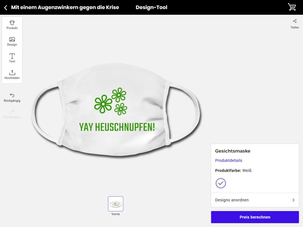 """Maske mit Design """"Yay Heuschnupfen"""""""