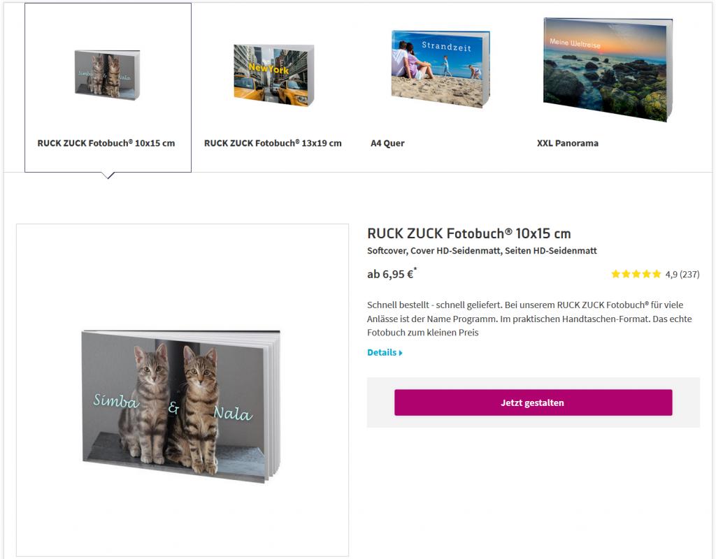 Übersicht über Fotobücher-Angebot auf FotoPremio