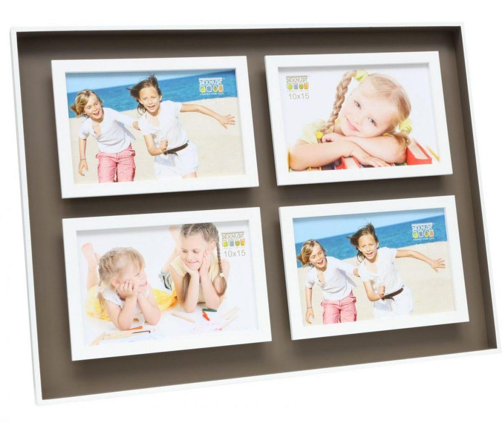Fotorahmen mit braunem Hintergrund und vier Fotos