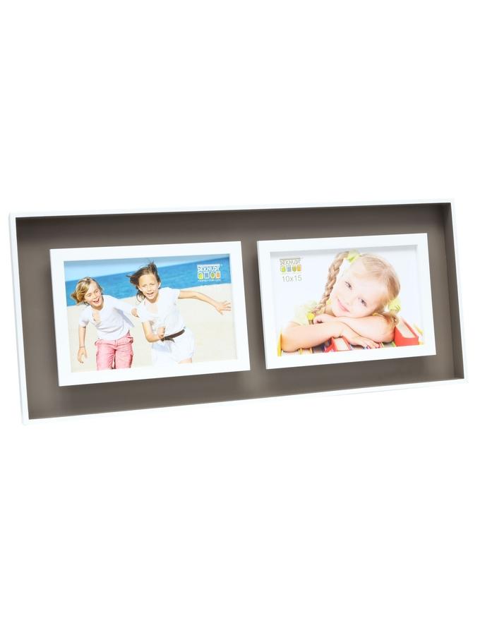 querformatiger Fotorahmen mit Tiefeneffekt, zwei Fotos von Kindern