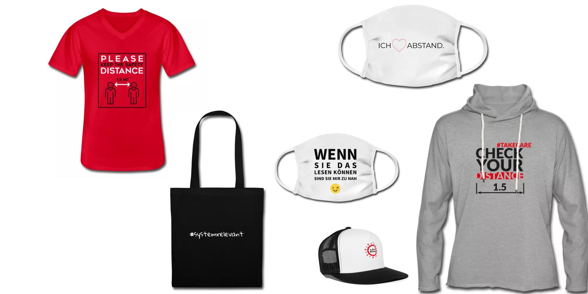 Grafik mit Produkten eines T-Shirt-Shops