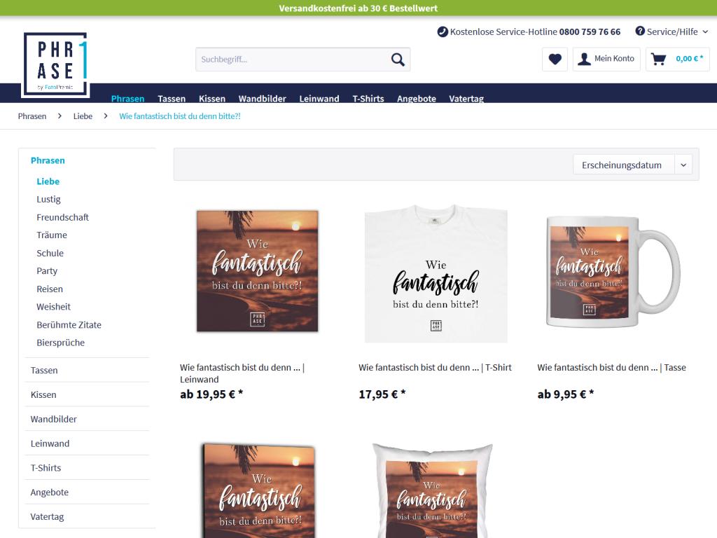 Phrase1 Onlineshop mit allen Produkten