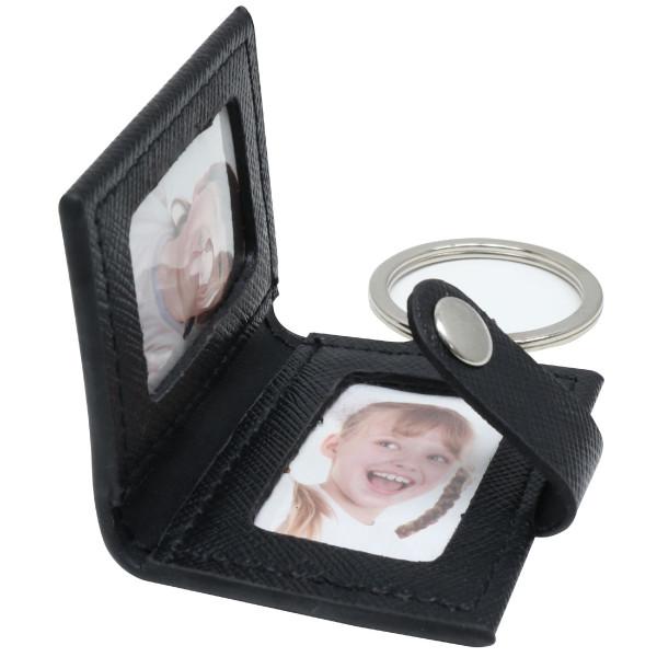 Schlüsselanhänger mit Fotos in schwarzer Lederhülle