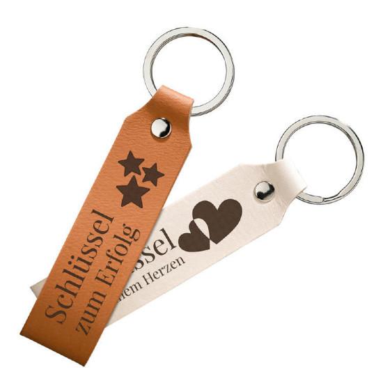 Schlüsselanhänger mit graviertem Lederband
