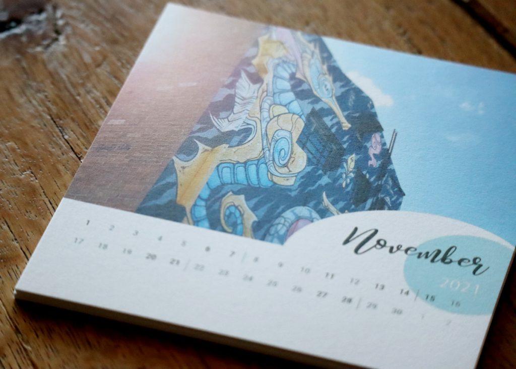 Detailansicht des Drucks auf einem Kalenderblatt